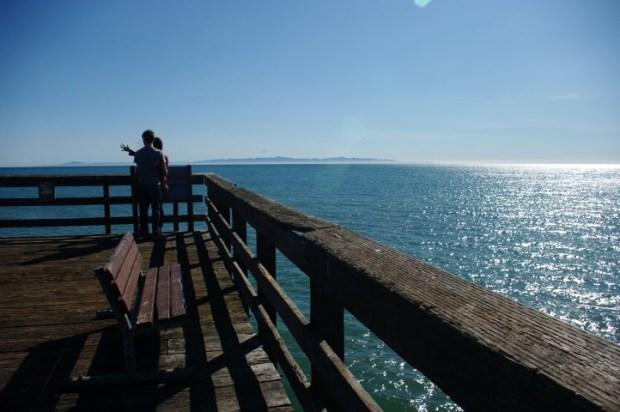 A channel island from the pier near Santa Barbara.