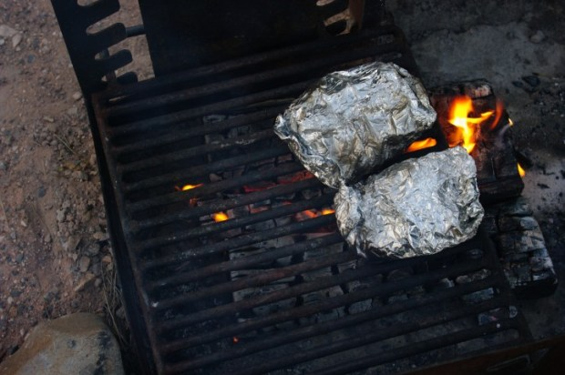 Because we didn't have a good bed of coals, we had to keep moving the pockets so they didn't catch on fire.