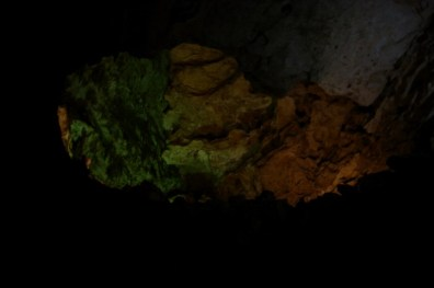 The ceiling in one of the caverns. The colors of the lights are enhanced in the photos, they're not really that colorful to the eyeball.