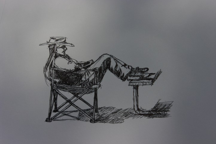 Paul napping, his favorite pastime. Sketched by my dad.