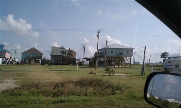 Houses on stilts.