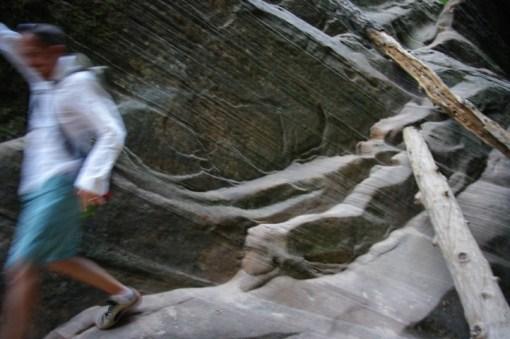 Paul descending a scrambly part.