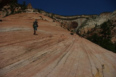 Climbing a sandstone bluff.