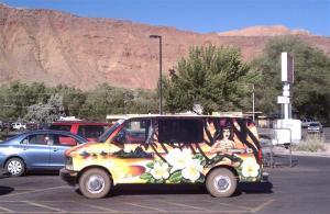 Astro van, hula dancer.