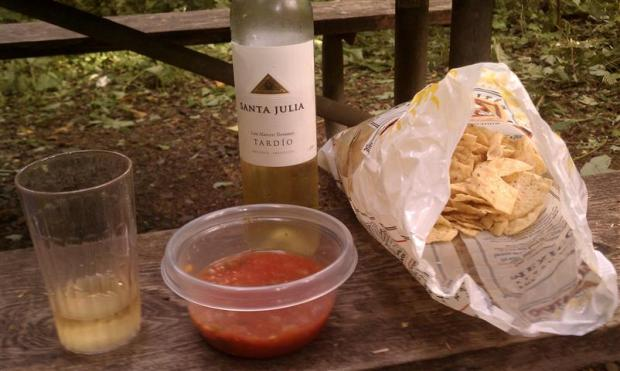 Late-harvest vino and chips and salsa.