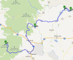 Google Map of our route to Rainier.