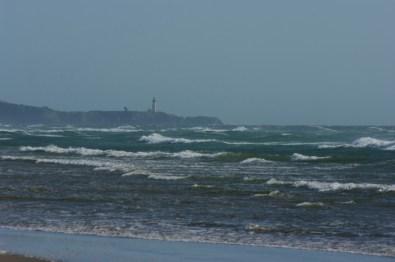 A lighthouse along the coast.