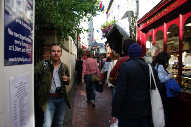 Paul in an even narrower section of The Lanes, where the streets become twisting warrens of jewelry shops and pubs.