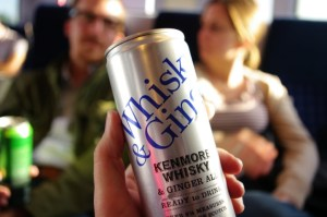 Whiskey and ginger ale in a can for £2.50 ($4.06), a deal.