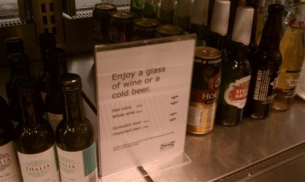 IKEA sells beer. Wait, is that bëær?