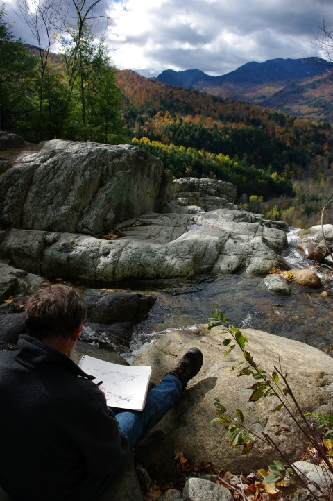 My Dad sketching at the top of the falls.