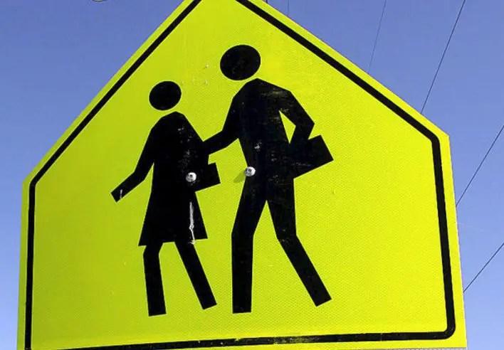 crosswalk ahead sign