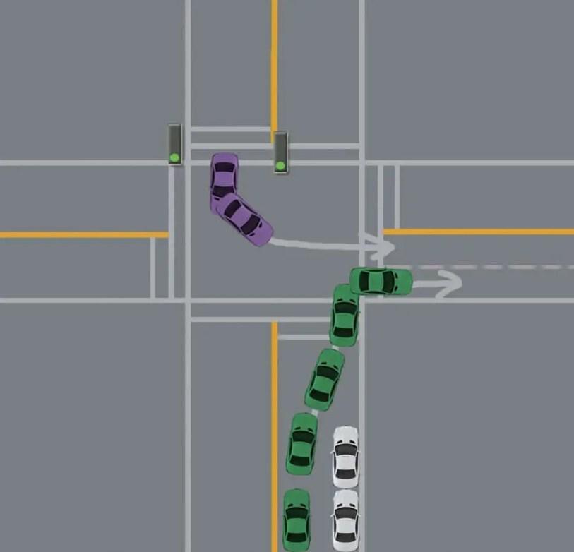 turning right into correct lane