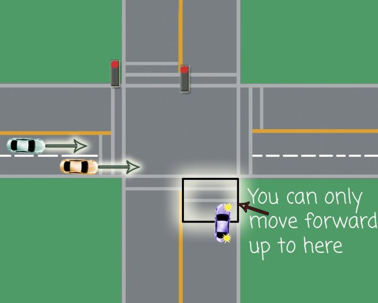 red light intersection right turn