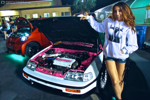 small resolution of  who wasn t modeling as much as she was showing off a complete restoration build including an engine swap in a 1988 honda crx that was literally a wreck