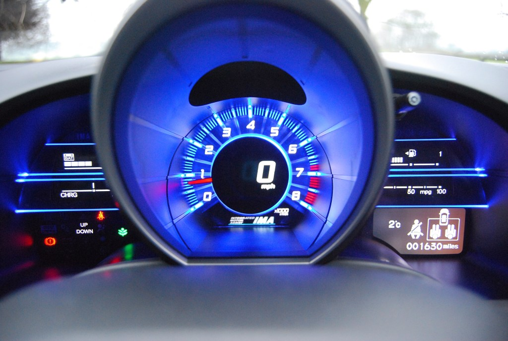 Quite a distinctive view from the driver's seat of the Honda CR-Z