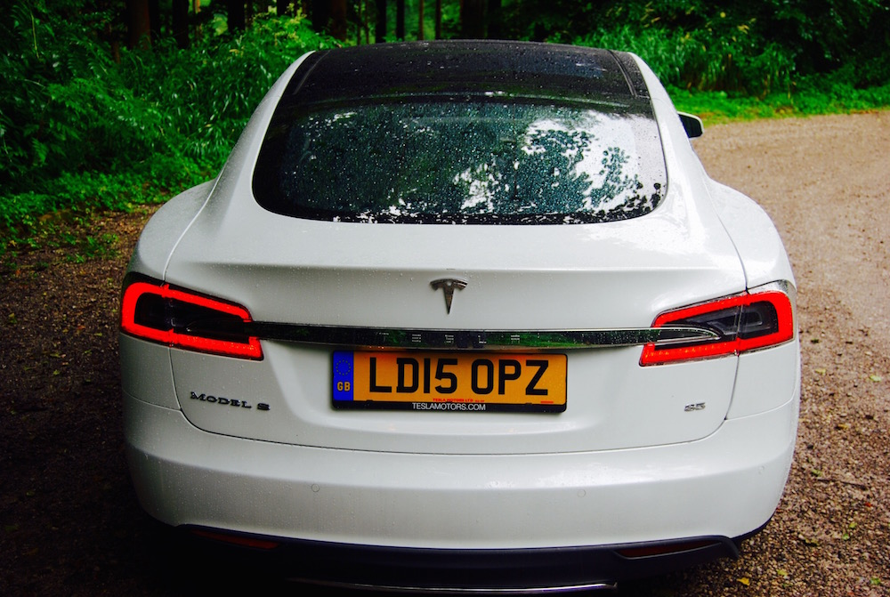 Tesla Model S white rear