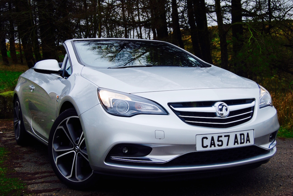 vauxhall cascada silver front roof down