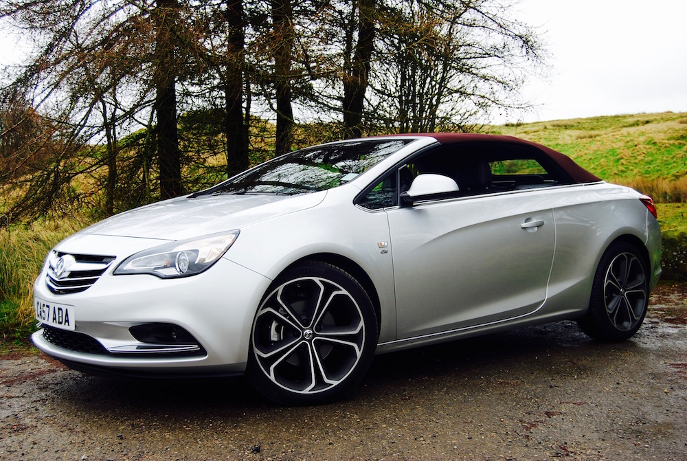 vauxhall cascada silver red roof up side