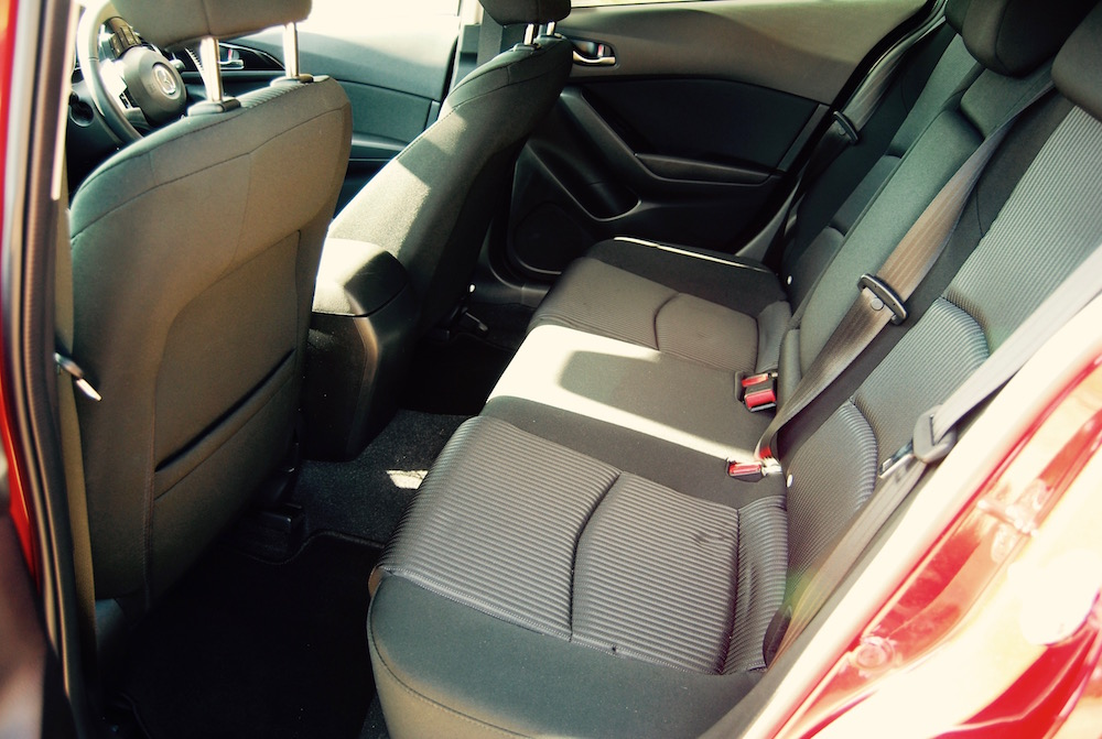 Mazda 3 rear seats sport nav review