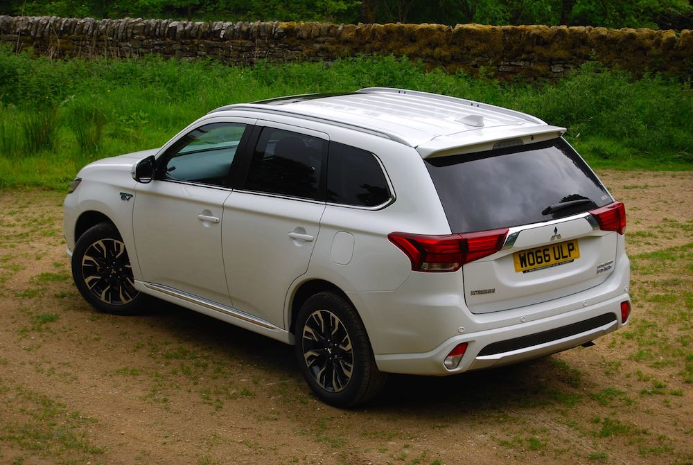 mitsubishi outlander phev white rear side