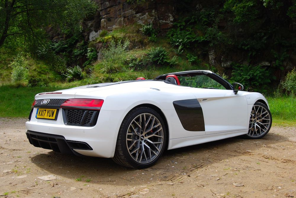 Audi R8 Spyder white rear side