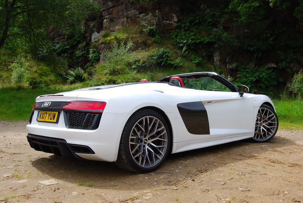 Audi R8 Spyder white rear side