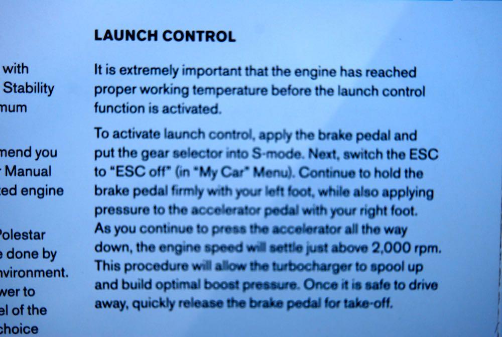 Volvo V60 Polestar launch control