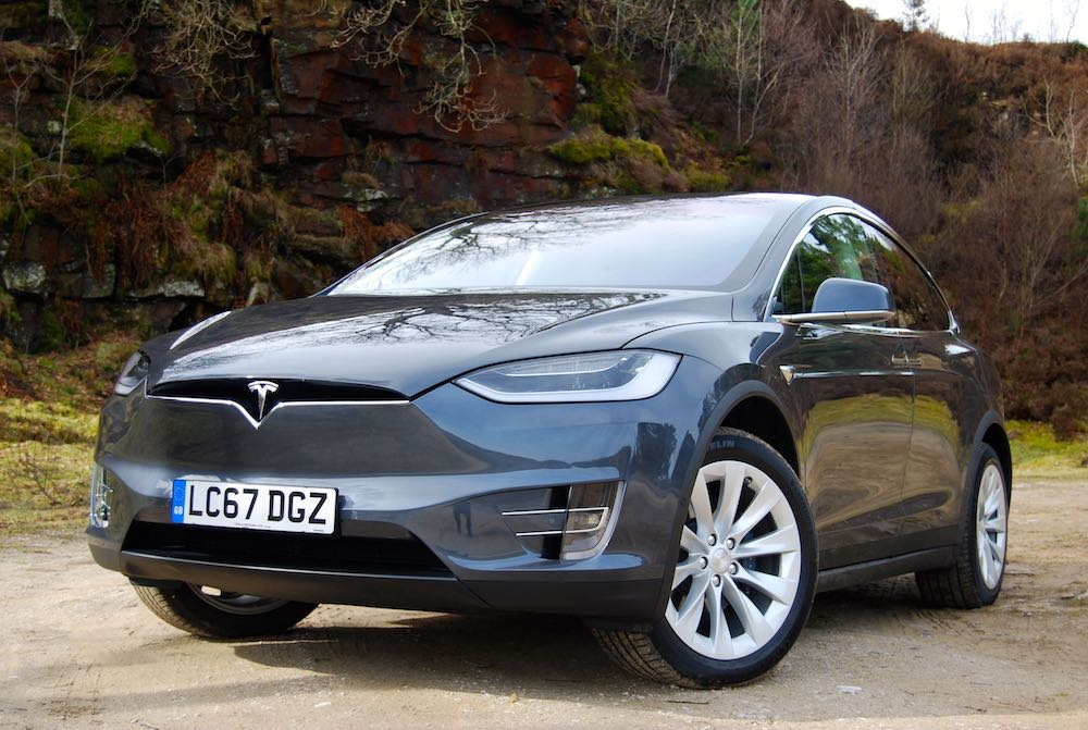 tesla model x grey front side