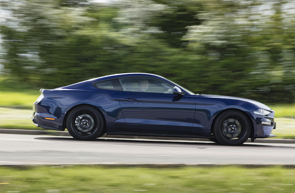2018 Ford Mustang GT side blue