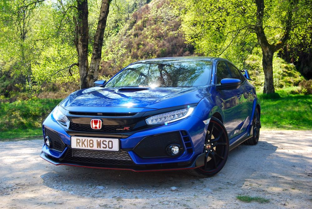 civic type r blue front side