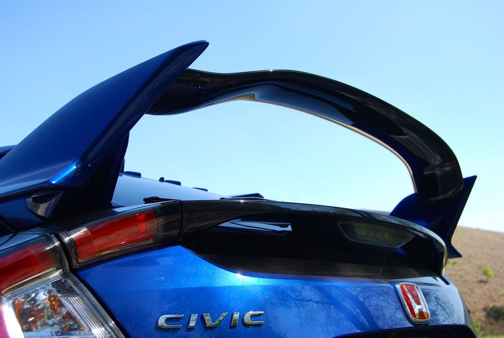 civic type r rear wing blue