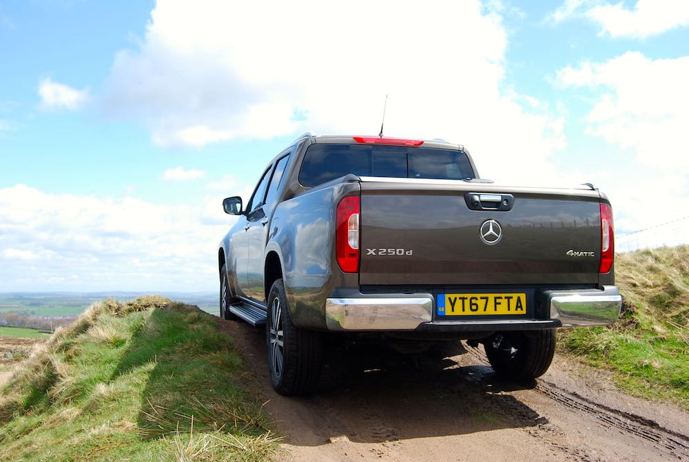 mercedes x-class rear off road hill bronze