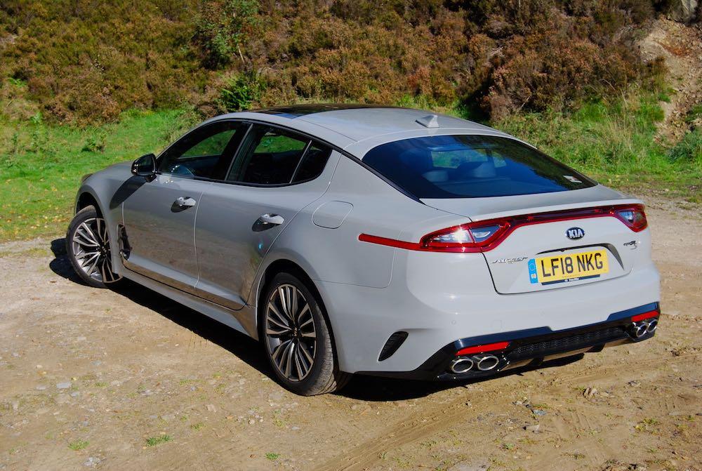 kia stinger gt grey rear side review roadtest