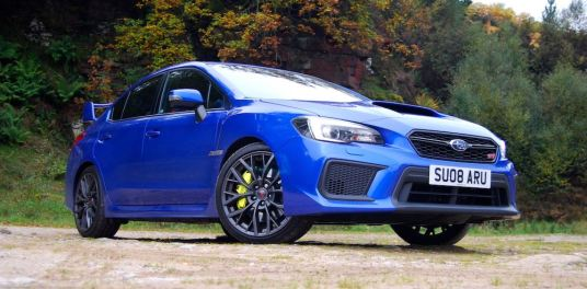 subaru wrx sti final edtion blue review front side