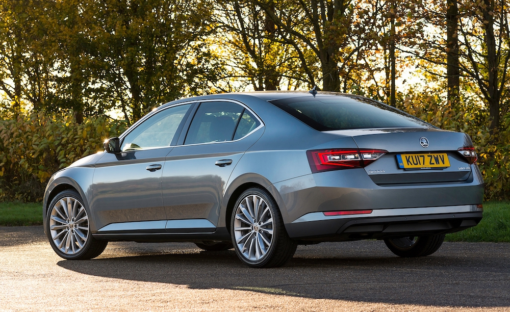 2019 skoda superb hatch grey rear side review roadtest