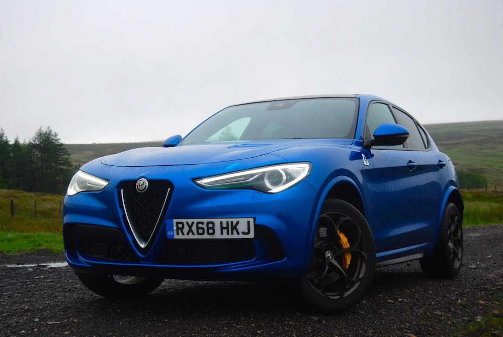 2019 alfa romeo stelvio quadrifoglio blue front side review roadtest