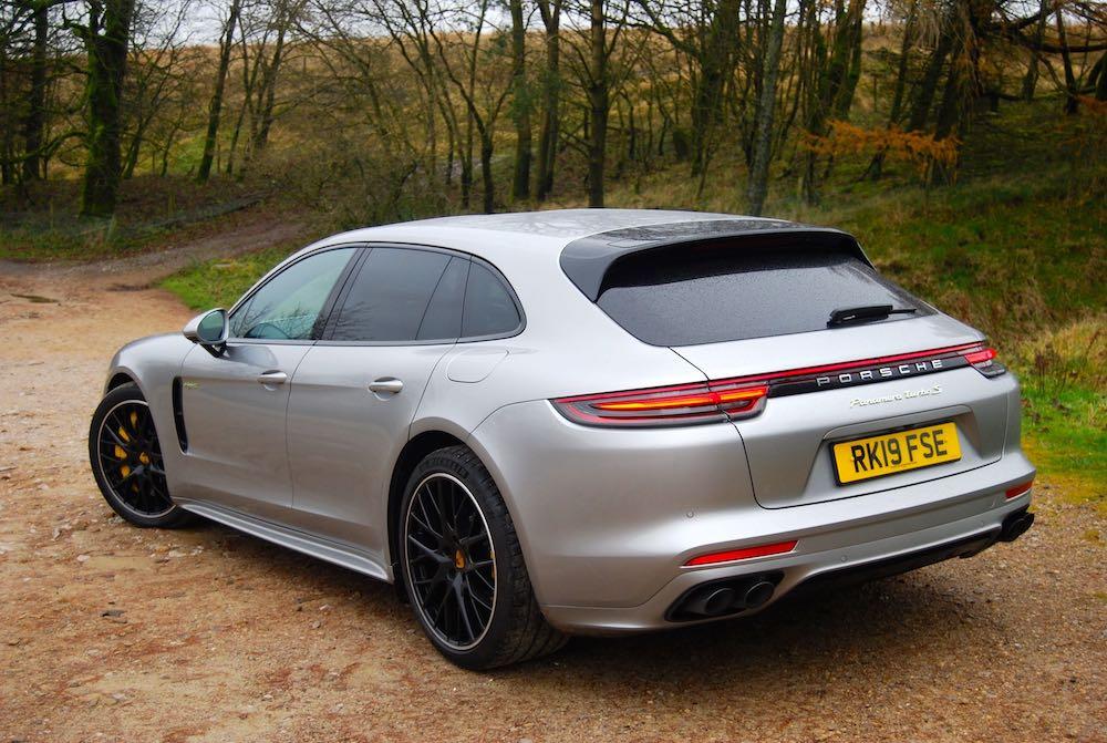 porsche panamera turbo s e-hybrid sport turismo silver rear side review