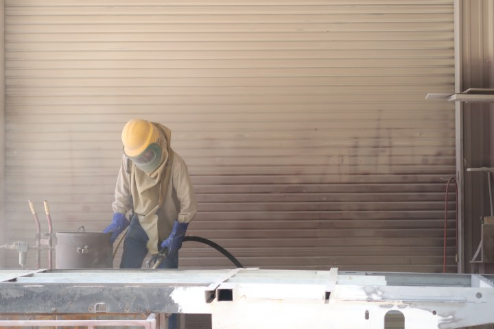Airstream Renovation sand blasting