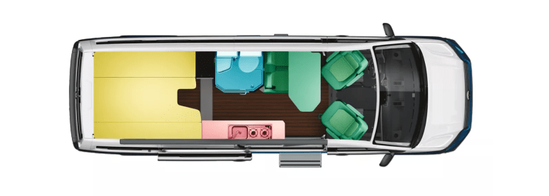 VW Camper Van Bed Layout