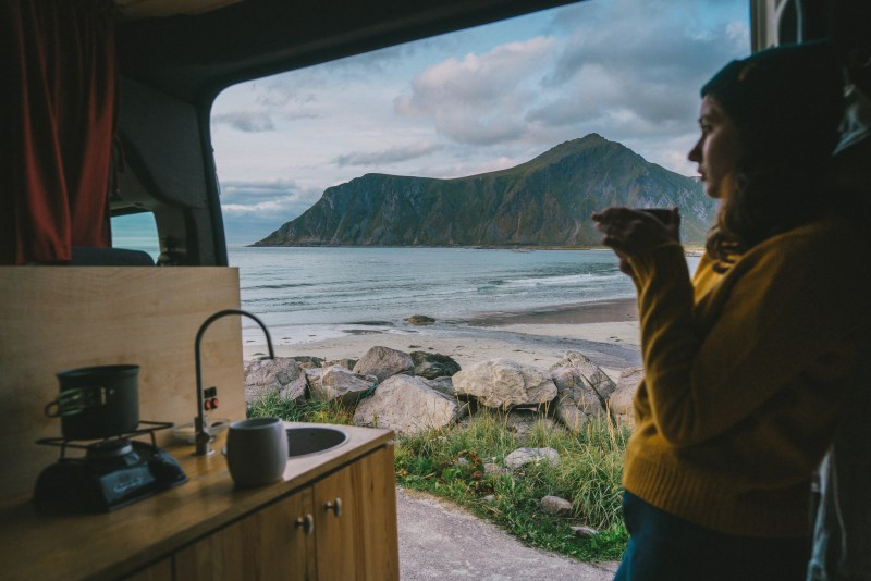 girl in camper van