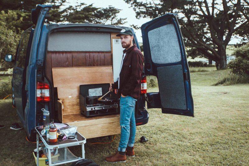 cooking outside camper van