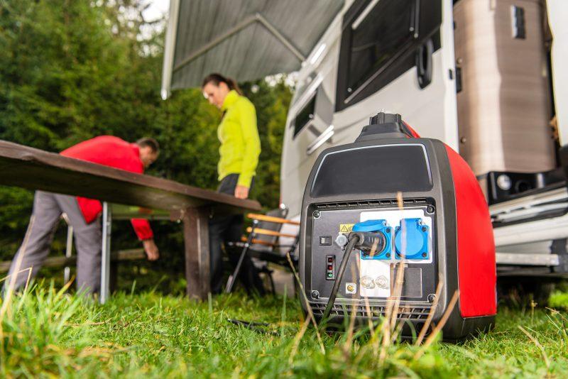 Generator Running Next to Camper Van RV