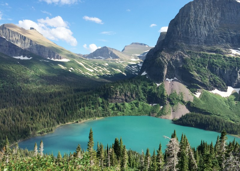 Lake and mountain view of Glacier National Park.