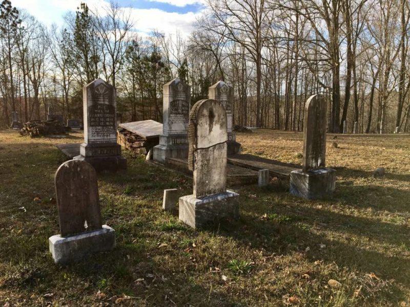 Creepy cemetery with grave stones.