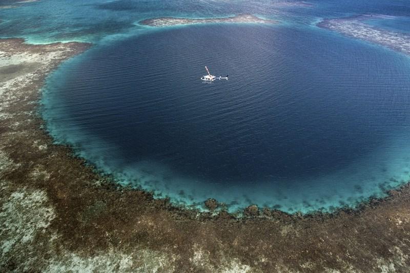 Aerial shot of Great Blue Hole, Belize