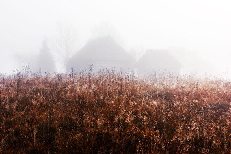 Creepy shadowed haunted house eerie field