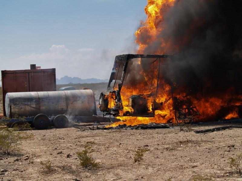 RV on fire due to propane.
