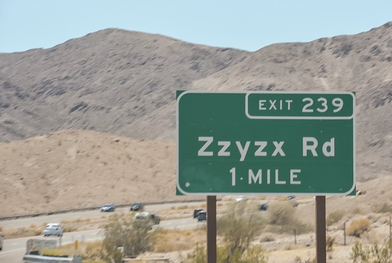 Close up of Zzyzx Rd exit sign.