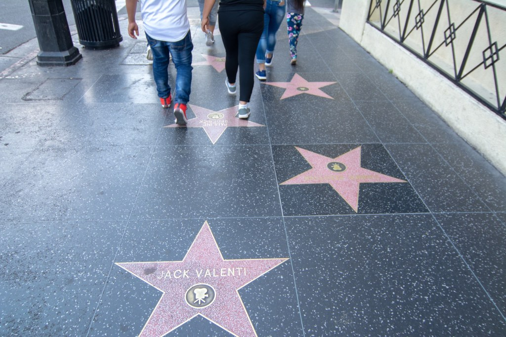 Image of some stars on the Hollywood Walk of Fame.